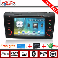 Bway 2 din car audio video for MAZDA 3 (2004-2009) car dvd gps 256 MB RAM with car Radio bluetooth,steering wheel