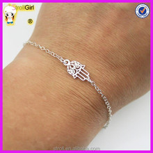 Small Hand of Fatima Bracelet - Hamsa 925 Sterling Silver Hand Charm also Adjustable