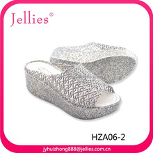 latest beauty design rubber shoes ladies flip flop slippers crystal pvc shoes plastic footwear