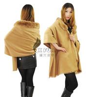 CX-B-P-05A 100% Rayon Fabric Pashmina Shawl With Rabbit Fur Trim