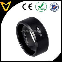 Vlink jewelry 10mm matte & high polish finish black diamond beveled edge black titanium wedding band