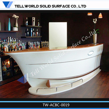 TW solid surface boat shape bar counter / home bar counter design / kitchen bar counter designs