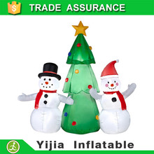 5' Airblown Inflatable Snowmen with Tree Lighted Christmas Yard Art Decoration
