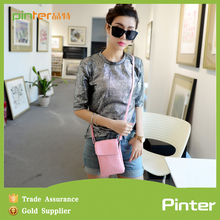 Pinter bag jinhua factory promotional good quality lady leather cell phone sling bag