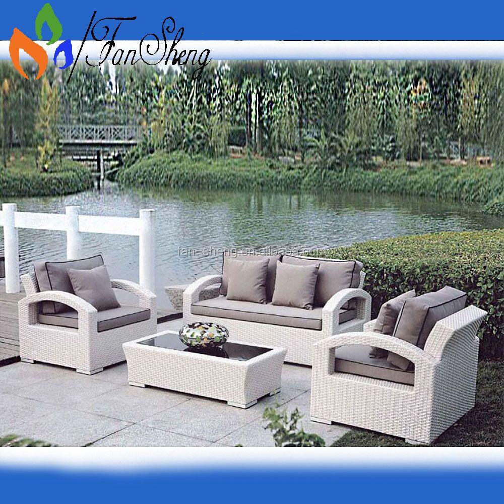 Fansheng Mobiliario Comercial Blanco Pe Mimbre Rattan Muebles De  # Muebles Exterior