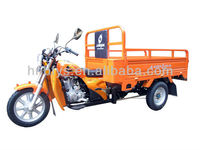 orange adult tricycle for cargo with rear axle