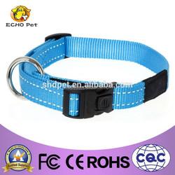 Unisex blue reflective dog collar, nylon dog product