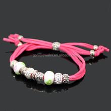 Fashion Bracelet Jewelry, Crystal Ball Green Murano Glass Bead Velvet Bracelet