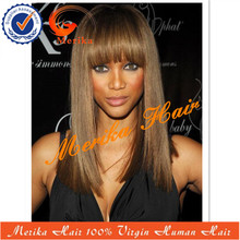 Cheap brazilian lace front wigs, 14inch silky straight grad5a human hair lace front wigs with bangs