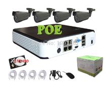 4CH 720P POE NVR kit with 1TB HDD 4pcs 720P IP waterproof camera P2P NVR system Surveillance CCTV System Kit