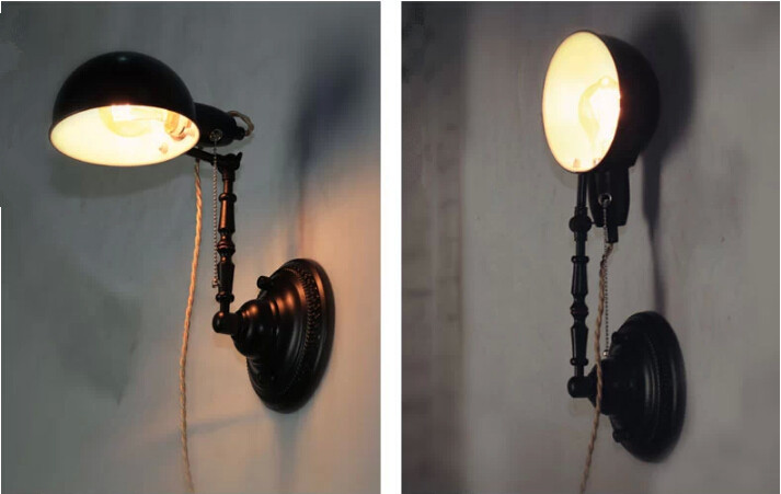 Antique Adjustable Wall Mounted Lamp Black Iron, View antique mounted lamp, Garsh Product ...