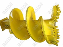 Rock auger pilot with bullet teeth for rotary drilling machines