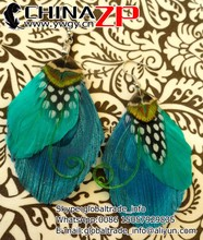 Elegant design plumage earring from China ZP crafts factory cheap price DEELIA Turquoise and Green Peacock Feather Earrings