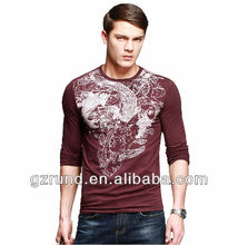 Men's long-sleeved T-shirt male animal print tattoo t-shirt men's spring fashion personality latest mens t-shirt cotton spandex