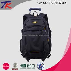 Large Capacity Black Laptop Backpack Trolley Bag for Men