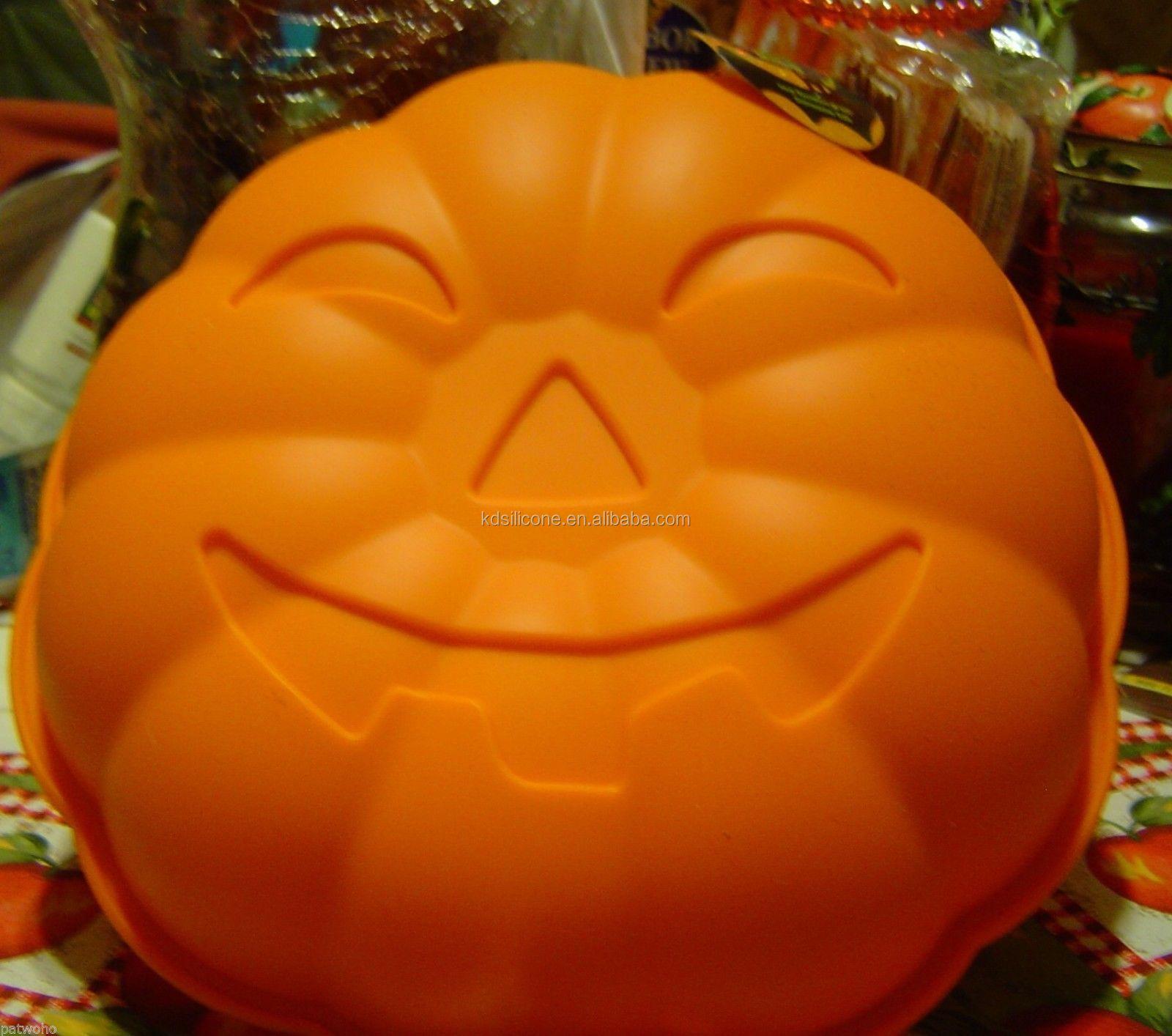 Smiling Non-stick Funny Carnival Halloween Pumpkin Cake Pan Mold,wholesale halloween skeleton skull head cake pop mold