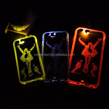 Hot Selling tempered PC Transparent Hard Cover Call Sense 9 colors LED Flash Light Case for iPhone 6 6Plus 5/5S Rock PhoneCase