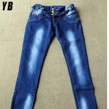Para mujer de moda Jeans azul claro venta al por mayor pantalones vaqueros calientes