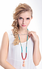 2015 fashion wooden beads long necklaces with national style bright color tassel