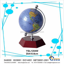hot sales ! good quality smooth surface earth globe with wooden as teaching tool or decoration & gifts YGL1204W