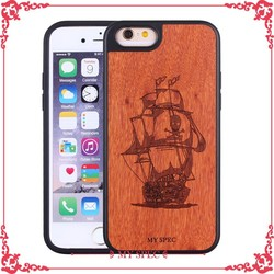 custom carved wood back houses with tpu material cellphone cases for iphone 6
