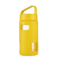 300ml candy color borosilicate glass water bottle wholesale with silicone sleeve