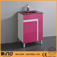 cheap free standing 600mm PVC bathroom conner vanity cabinets with elegant glass top