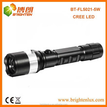 Factory supply Super Bright 1*18650 battery Powered Adjustable focus Metal Rechargeable 5 watt cree led Flashlight