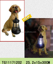 Lantern dog statues for polyresin solar garden light