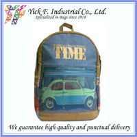 Classic Fashionable Car Printed Canvas + PU leather Blue Backpack