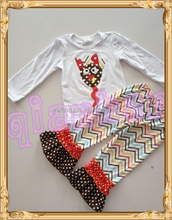 girls boutique clothing for Thanksgiving outfit with turkey children fall clothing loog sleeve and ruffle pants set