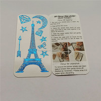 Fashoinable romantic 3d Eiffel tower cell phone jewelry sticker, diy mobile phone pear sticker, mobile phone case decoration