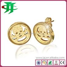 fashion jewelry hot wholesale funky 316L stainless steel sandblasting skull stud earrings for men
