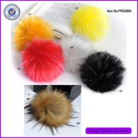 Wholesale Cheap Stock Fluffy Tip Dyed Fur Hat Pom Poms For Hat