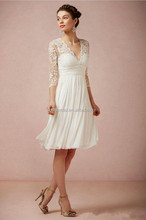 2014 Ivory Short Chiffon Bridal Wedding Dress Gown Knee Length 3/4 Sleeve