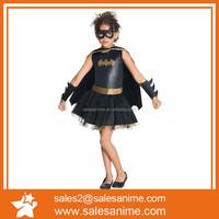 Hot selling national halloween dancing costume for kids black Bat-man costumes
