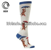 Custom Warm Gaffee Cat Knitting Long Length Knee High Socks