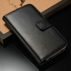 2014 wholesale phone case of high quality genuine leather wallet style with card holder and magnetic bumper for Iphone 4 4S