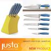 Blue steel head knife set with wooden horder