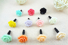 NEW 3.5mm Romantic Rose Flowers Anti Dust Plug For Cell Phone