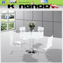 Most simple design MDF top dining table round steel table legs