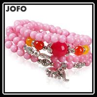 2015 New Arrival Ethnic Style Pink Beads Bracelet Elephant Fish Lucky Beads Bracelet Fashion Costume Jewelry