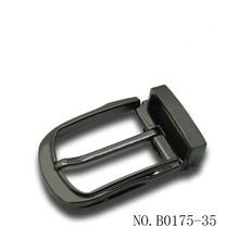 35mm Rounded U shape teeth buckle with loop in black gunmetal plated
