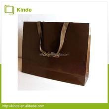 luxury paper lamination shopping bag brown paper bag cotton ribbon handle shopping bag