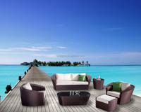 2015 Hot sale sunshine pool rattan sofa coffee table set brown SGY-14193A