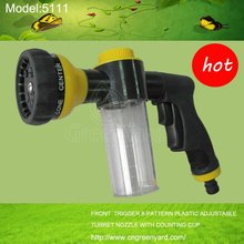 GreenYard 5111 FRONT TRIGGER 8-PATTERN PLASTIC ADJUSTABLE TURRET FOAM SPRAY NOZZLE WITH COUNTING CUP Garden&home ,high pressur