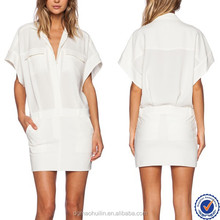 hongkong dress wholesale short sleeve ladies casual dress sexy white summer dress for office
