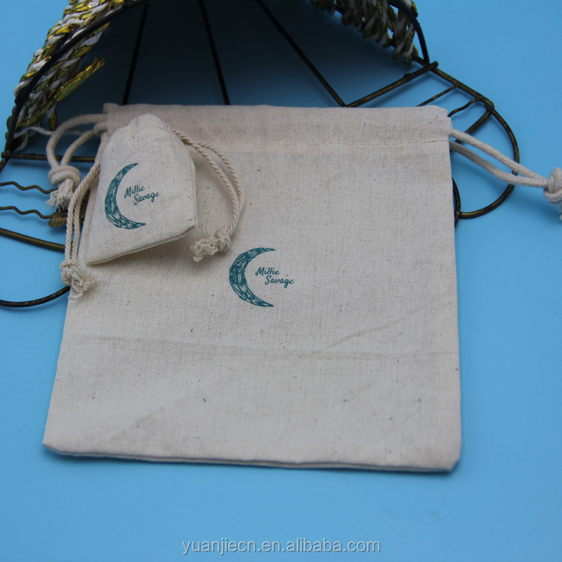 Yuaujie wholesale customized eco-friendly recyclable plain cotton drawstring bag with printing,wholesale cotton shoes bags