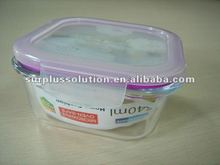 Stock lot 500ml square glass food container with plastic lid