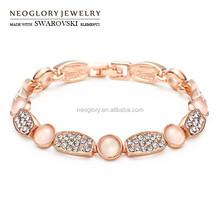 Neoglory Austria Rhinestone Glass Rose Gold Plated Bangles & Bracelets for Women Jewelry Bijoux 2015 Brand New Arrival QC